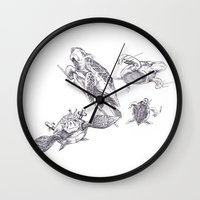 ninja turtles Wall Clocks featuring Ninja Turtles by MrDenmac