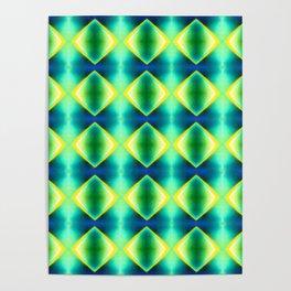 Green Yellow Geometric Metallic Diamond Pattern Poster