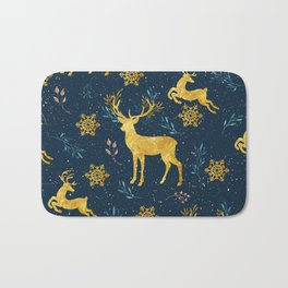 Golden Reindeer Bath Mat