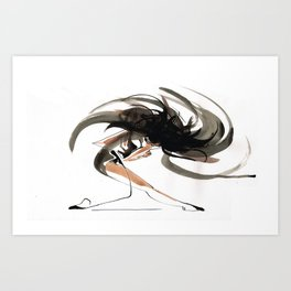 Expressive Ballerina Dance Drawing Art Print