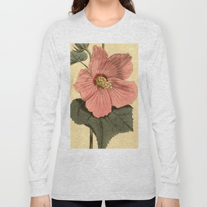 Vintage Illustration Of A Hibiscus Flower 1806 Long Sleeve T Shirt