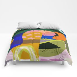 Shapes and Layers no.20 - Abstract painting olive green blue orange black Comforters