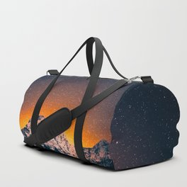 Glowing Snow Mountains Magical Star Night Sky Shooting Star Landscape Duffle Bag