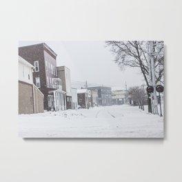 Snowy Rails Metal Print