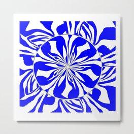 Zebra Kaleidoscope Blue and White Metal Print