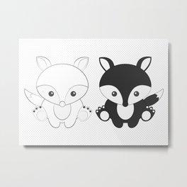 Twins Fox Metal Print