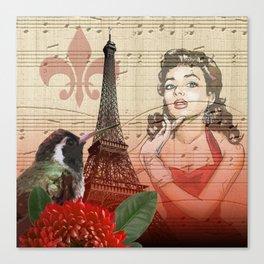 Retro Pinup Girl Vintage Paris Collage Canvas Print