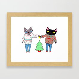 Cats in Sweaters Trimming the Christmas Tree Framed Art Print