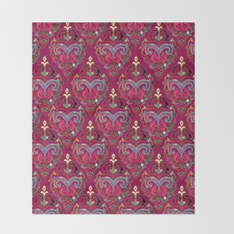 Persian Floral pattern  with painted texture and gold Throw Blanket