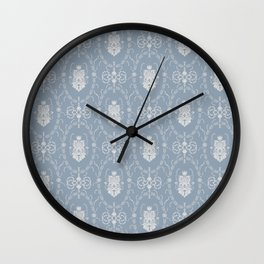 Grey damask pattern Wall Clock