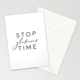 Stop Glamour Time, Make Up Print, Vanity Wall Art, Fashion Quote Stationery Cards