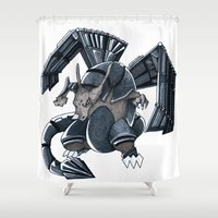 charizard Shower Curtains featuring Meta Charizard by VictorVieitez