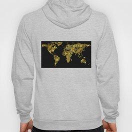 World Map Silhouette - Yellow Flower Pattern Hoody