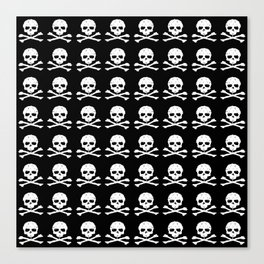Skull and XBones in Black and White Canvas Print