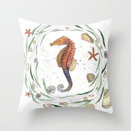 Seahorse illustration with nautical wreath Throw Pillow
