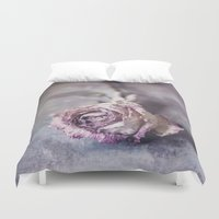 depression Duvet Covers featuring Dried Rose by Maria Heyens