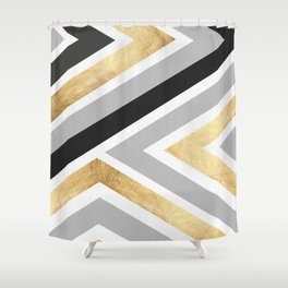 Gray and gold composition I Shower Curtain