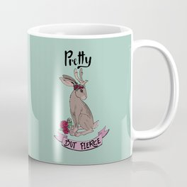 Pretty but fierce jackalope with flowers Coffee Mug