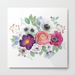 Flower bouquet on white Metal Print