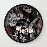 pulp fiction Wall Clocks featuring Pulp Fiction by AWAL