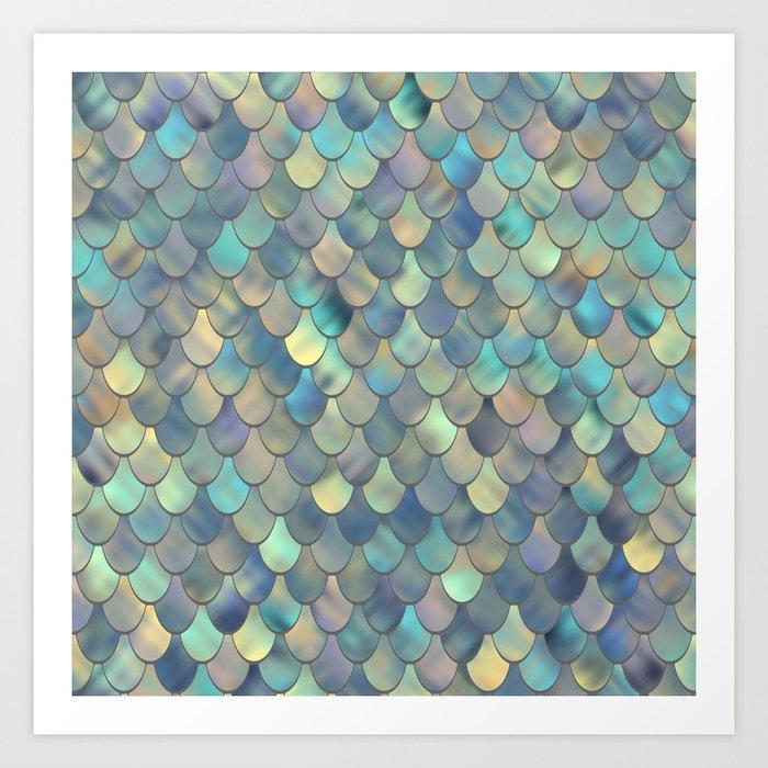 Mermaid Sea Shell Iridescent Kunstdrucke