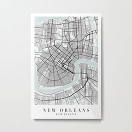 New Orleans Louisiana Blue Water Street Map Metal Print