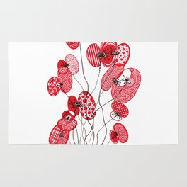 Patterned Poppies Rug