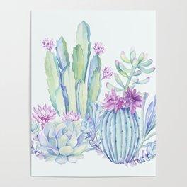 Mixed Cacti Light Blue #society6 #buyart Poster