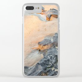 Rocks on beach, late afternoon Clear iPhone Case