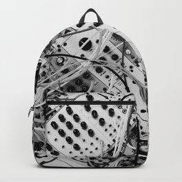 analog synthesizer  - diagonal black and white illustration Backpack