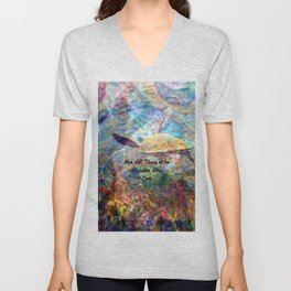 Not All Who Those Wander Are Lost Inspirational Quote With Beautiful Sea Turtle Painting Unisex V-Neck