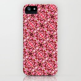 Red and pink flower pattern iPhone Case