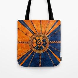 Hunab Ku Mayan symbol Orange and Blue Tote Bag