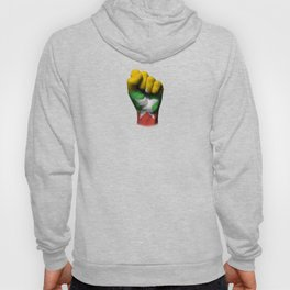 Myanmar Flag on a Raised Clenched Fist Hoody