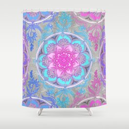 Pink, Purple and Turquoise Super Boho Doodle Medallions Shower Curtain