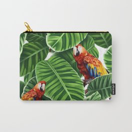 tropical leaves macaw pattern Carry-All Pouch
