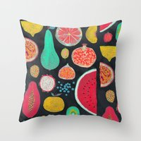 fruit Throw Pillows featuring Fruit by Mouni Feddag