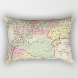 Vintage Map of Venezuela, Ecuador, Colombia (1855) Rectangular Pillow