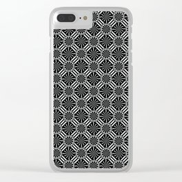 Wavy Black and White Pinwheel and Stripes Pattern - Graphic Design Clear iPhone Case