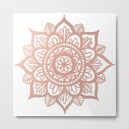New Rose Gold Mandala Metal Print