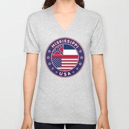 Mississippi, USA States, Mississippi t-shirt, Mississippi sticker, circle Unisex V-Neck