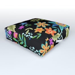 Dramatic floral design on black background. Colourful flowers, folk art inspired. Outdoor Floor Cushion