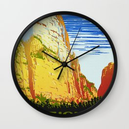 Zion National Park - Vintage Travel Wall Clock