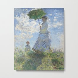 Woman with a Parasol, Madame Monet and Her Son by Claude Monet (1875) - Fine Art Collection Metal Print