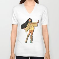 pocahontas V-neck T-shirts featuring Diva, Pocahontas by Anthony Michael