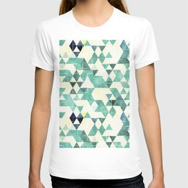 Abstract Green Triangles, Watercolor Pattern T-shirt