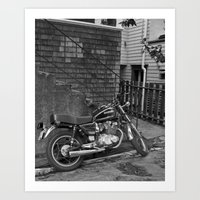 motorcycle Art Prints featuring Motorcycle by Cydney Melnyk Photography