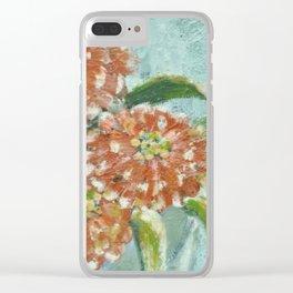 Orange Zinnias Clear iPhone Case
