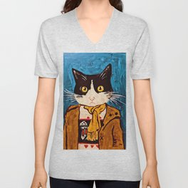 Cat Portrait Custom Acrylic on Canvas Painting  Unisex V-Neck