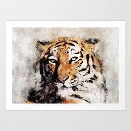 Watercolour tiger portrait Art Print